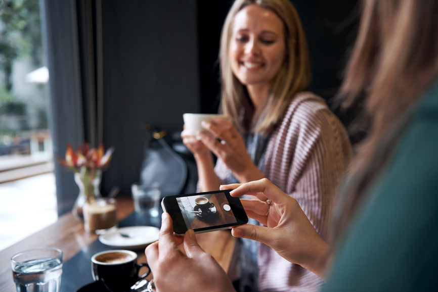 social coffee snapshop for instagram followers in trendy cafe